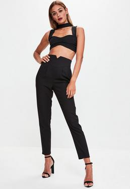 Black Super High Waisted Cigarette Trousers
