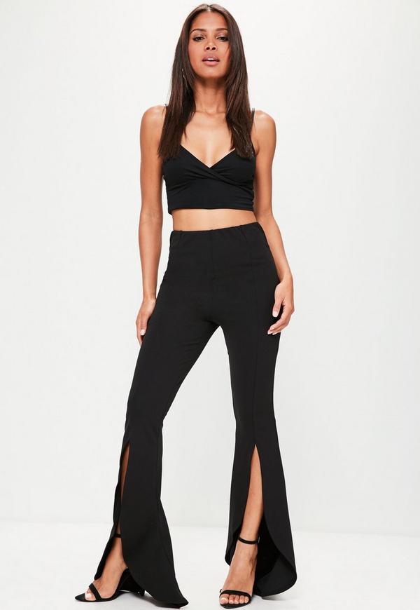 Black Split Front Flare Trousers