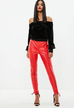 Red Faux Leather Lace Up Detail Trousers