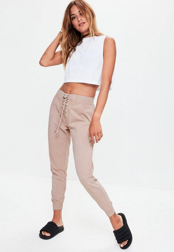 Nude Washed Lace Up Waist Joggers
