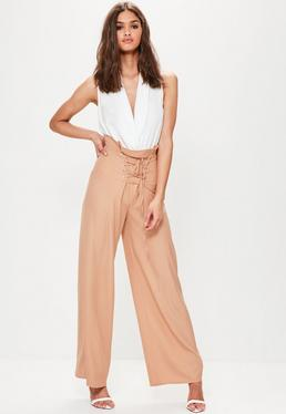 Nude Corset Detail Wide Leg Trousers
