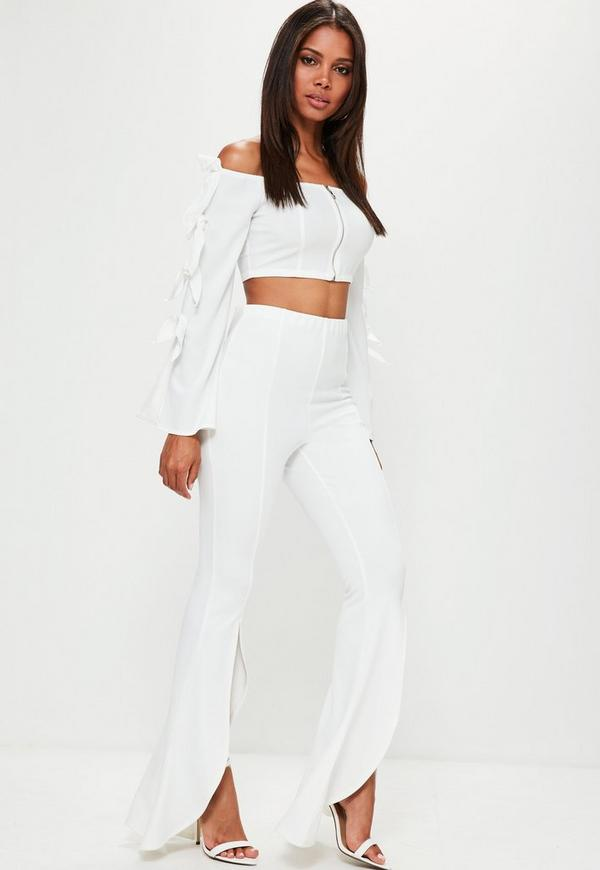 White Split Front Flare Trousers