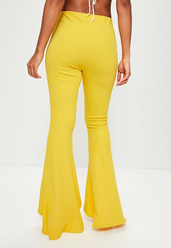 Yellow Split Front Flare Trousers | Missguided