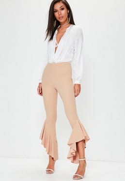 Nude Asymmetric Draped Frill Side Cigarette Trousers