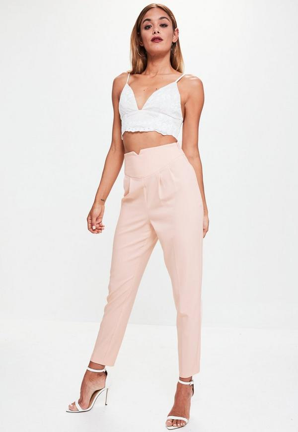 Nude Super High Waisted Cigarette Trousers