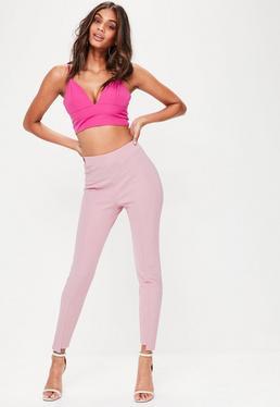 Pink Step Hem Skinny Trousers