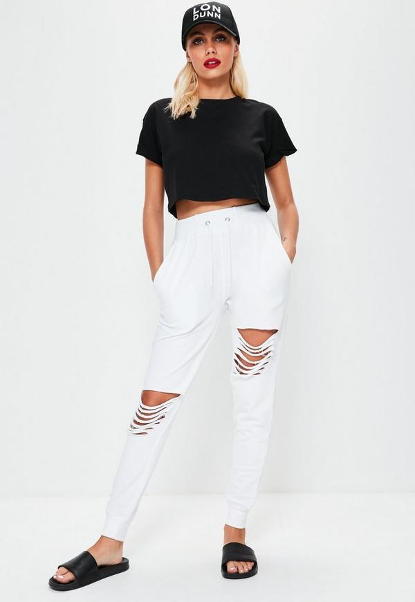 White Ripped Front Joggers