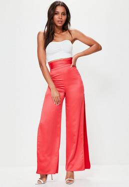 Red Split Side Belted High Waisted Trousers