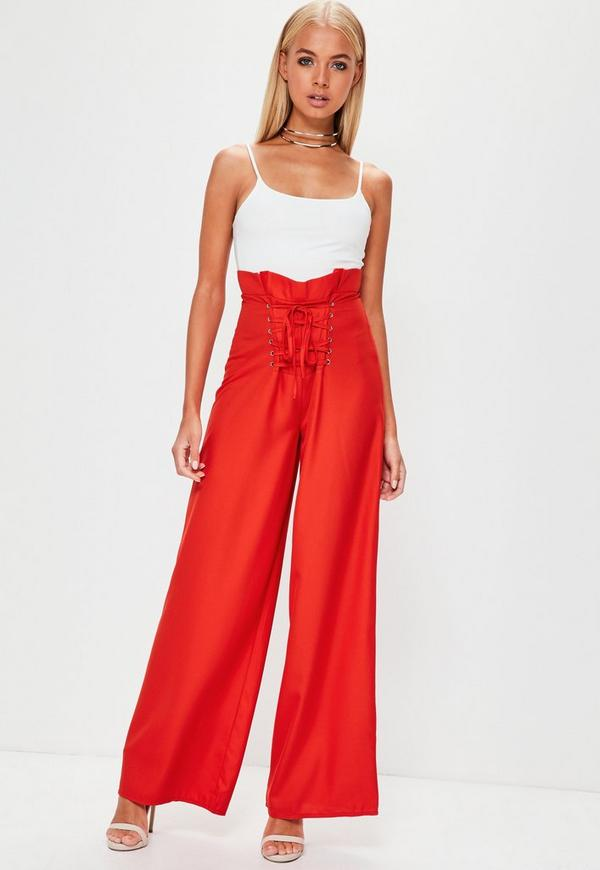 Premium Red Lace Up Corset Waist Wide Leg Trousers