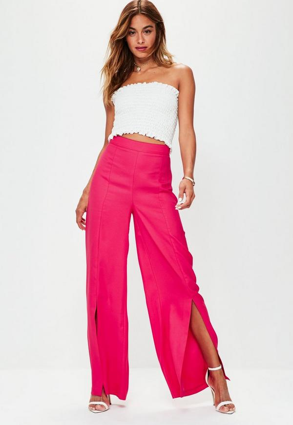 Pink Split Front Crepe Wide Leg Trousers