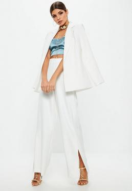 Premium White Split Side Trousers