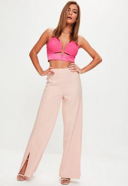 Pantalón premium con aberturas en rosa