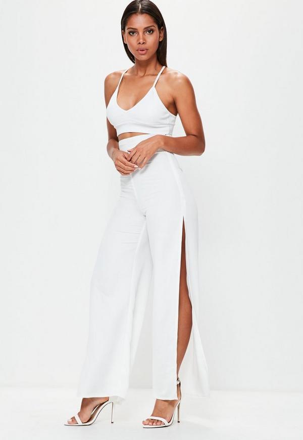 White Split Side Belt High Waisted Trousers