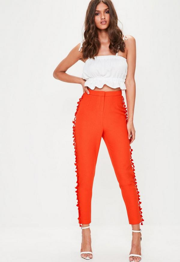Orange Cropped Crepe Tassel Trim Trousers