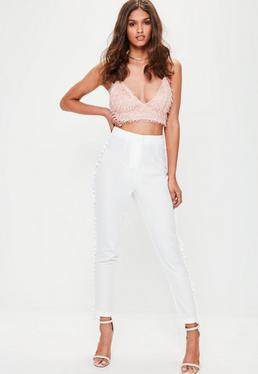White Cropped Crepe Tassel Trim Trousers