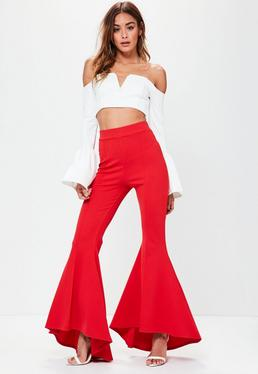Red Asymmetric Extreme Draped Frill Cigarette Trousers