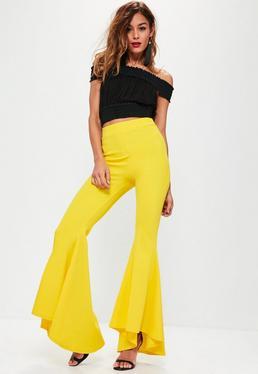 Yellow Asymmetric Extreme Draped Frill Cigarette Trousers