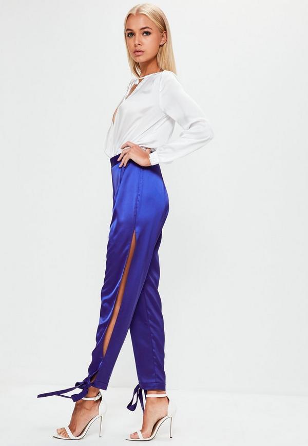 Blue High Shine Split Side Wrap Ankle Trousers