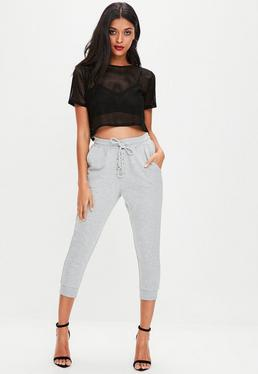 Grey Cropped Lace Up Joggers