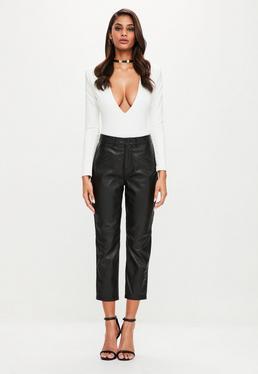Peace + Love Czarne spodnie z prawdziwej skóry