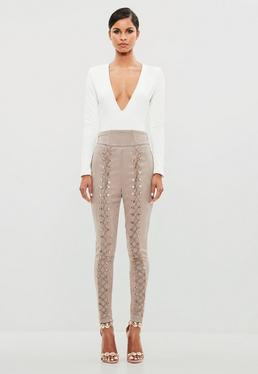 Peace + Love Nude High Waisted Faux Suede Pants
