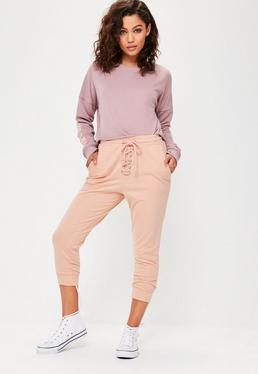 Nude Cropped Lace Up Joggers