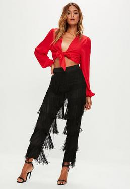 Black Tiered Fringe Pants