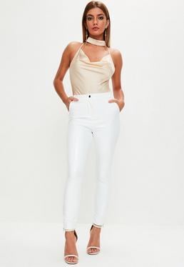 White Vinyl Ankle Grazer Trousers
