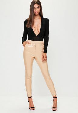 Cieliste lateksowe spodnie