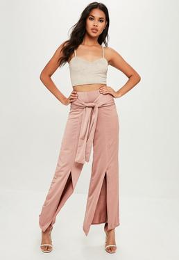 Pink Tie Front Slinky Pants