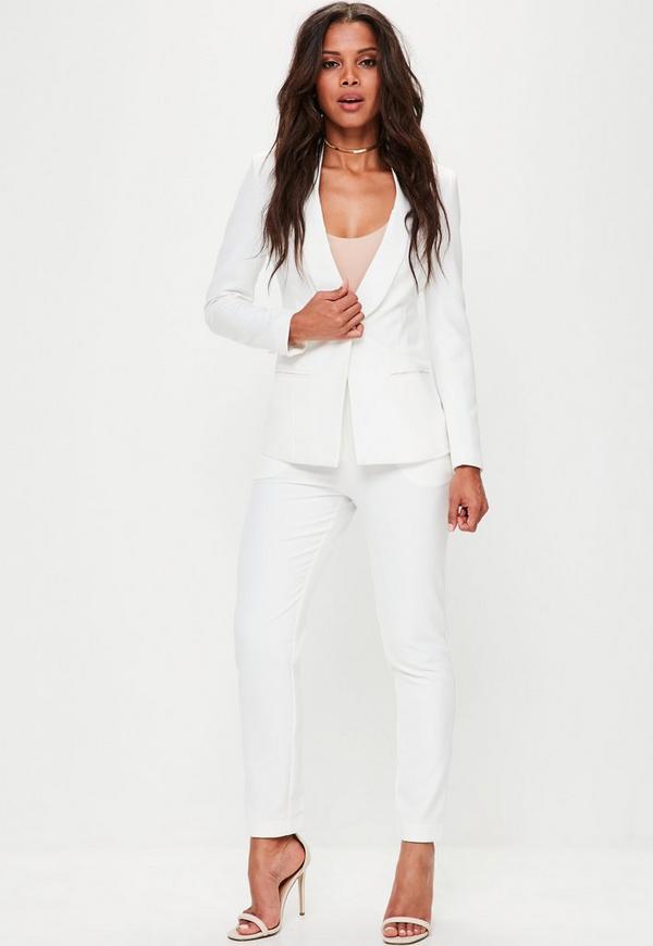 White Skinny Cigarette Trousers