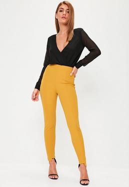 Yellow Step Hem Cigarette Trousers