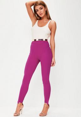 Purple Step Hem Cigarette Trousers