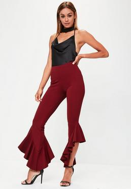 Burgundy Asymmetric Draped Frill Side Cigarette Pants