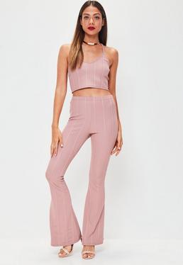 Pink Bandage Kick Flare Trousers