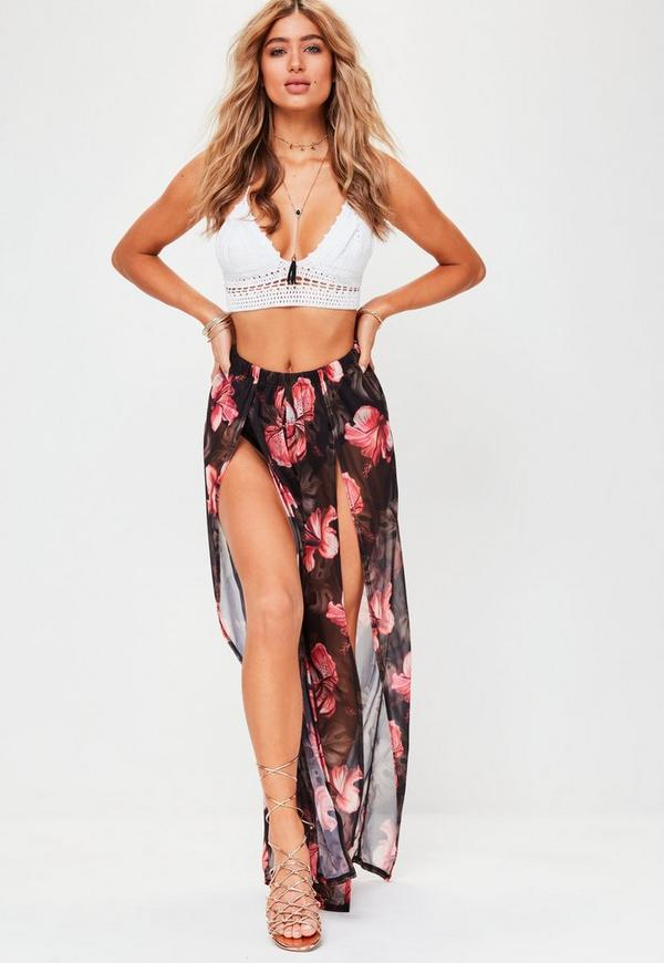 Black Mesh Floral Wide Leg Trousers