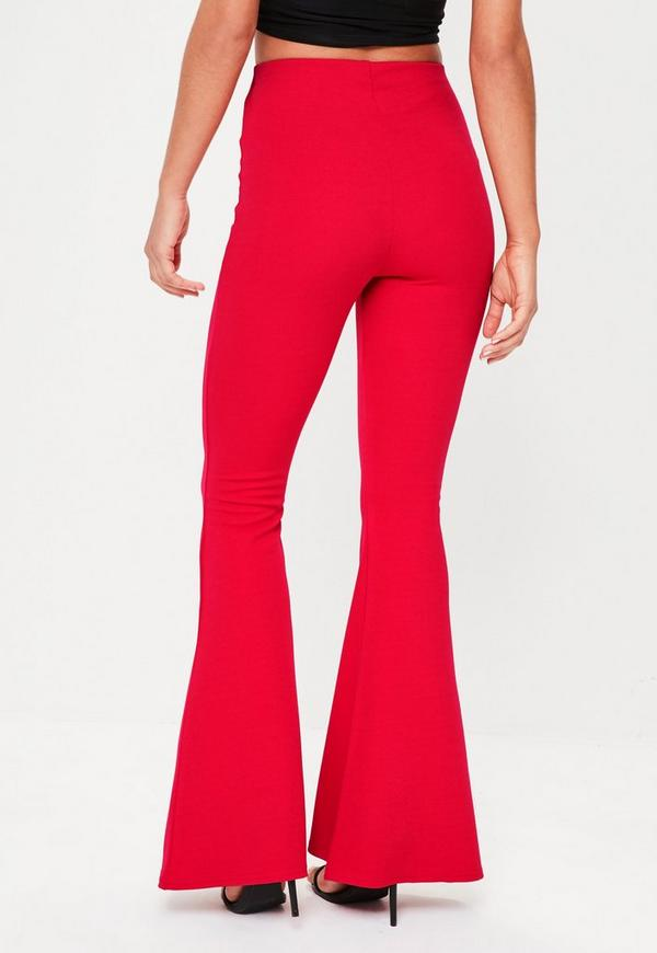 Red Kick Flared Trouser Missguided