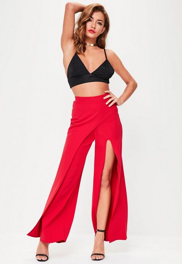 Red Wrap Over Wide Leg Trousers