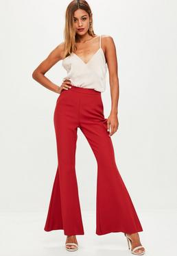 Red Woven Kick Flared Trousers