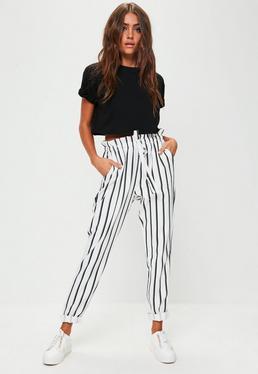 White Striped Slim Leg Joggers