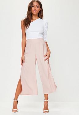Culotte con aberturas laterales en rosa