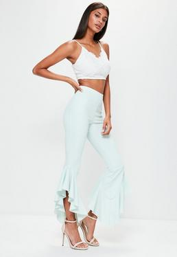 Green Asymmetric Draped Frill Side Cigarette Trousers