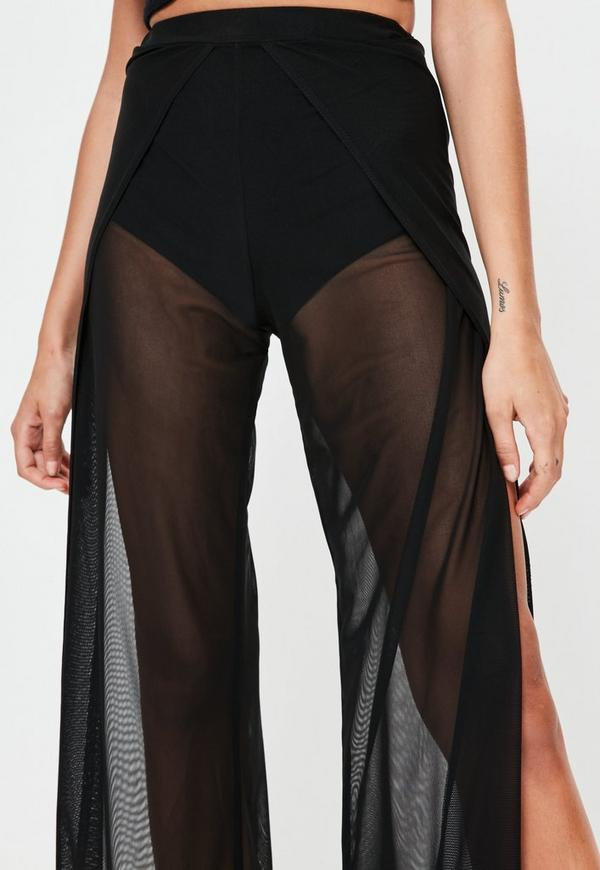 Black Wrap Over Mesh Trousers Missguided Ireland