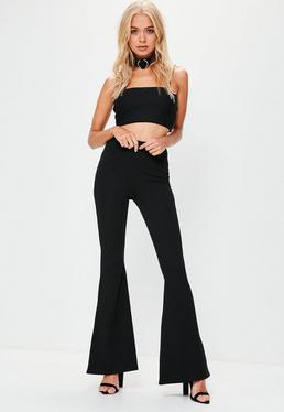 Black Crepe Kick Flare Trousers