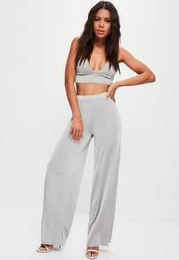 Grey Slinky Wide Leg Trousers