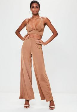 Camel Slinky Wide Leg Trousers
