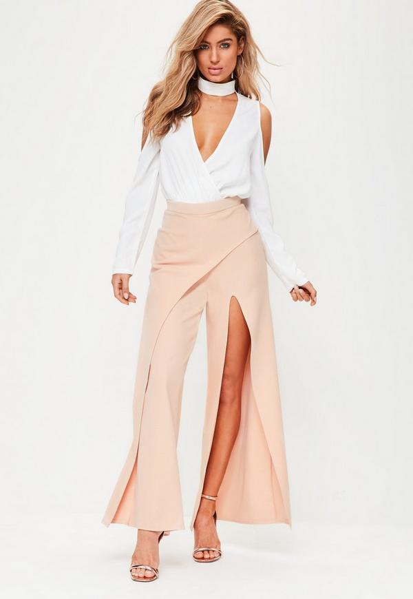 Nude Wrap Over Wide Leg Trousers
