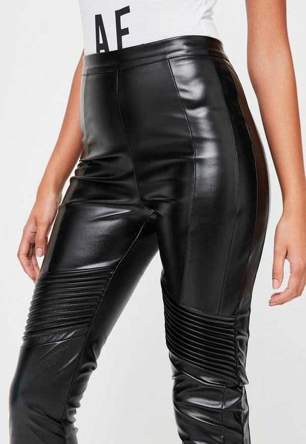 Black Faux Leather Biker Pants Missguided