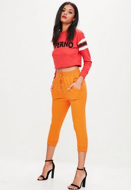 Lace-Up Crop-Jogginghose in Orange