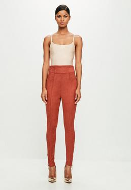 Peace + Love Red High Waisted Faux Suede Skinny Trousers